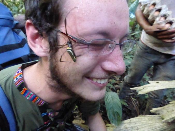 Matt enjoying the 'spider on face'-experience.