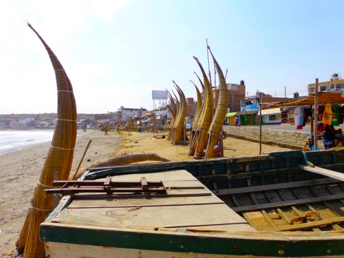 Traditional rafts on the beach of Huanchaco.